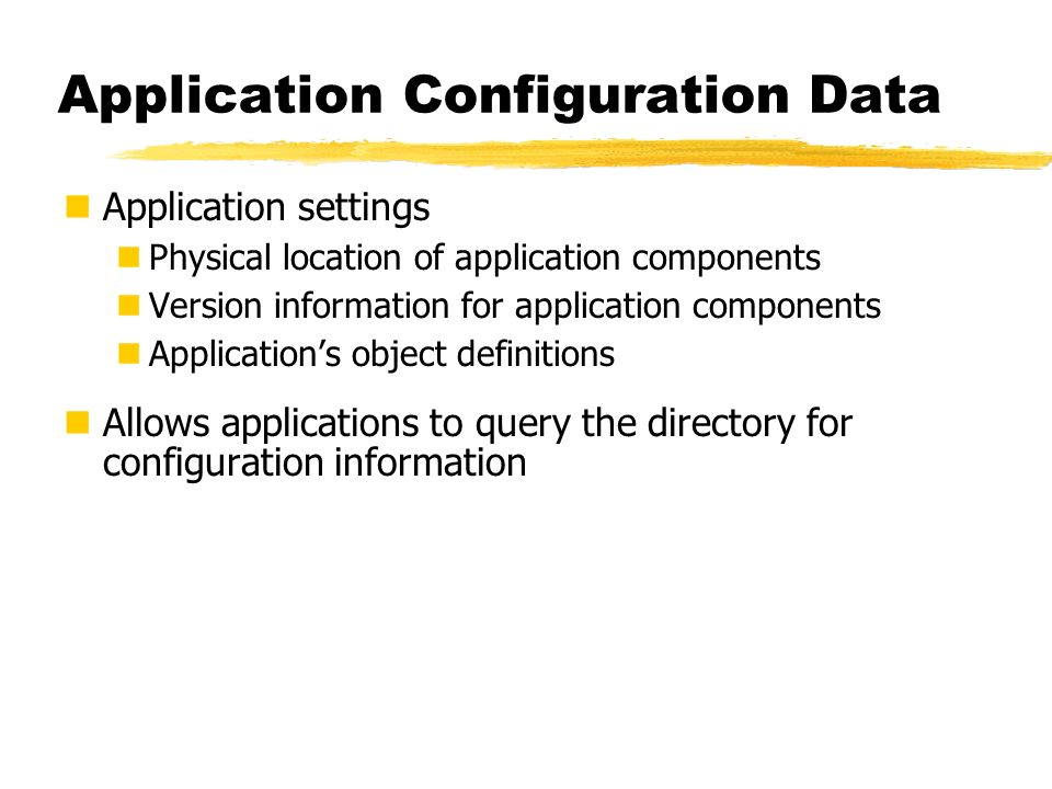 Application Configuration Data Application settings Physical location of application components Version information for application components Applica