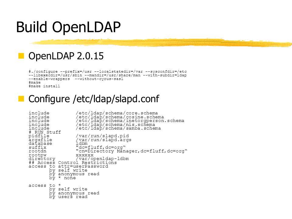 Build OpenLDAP OpenLDAP 2.0.15 #./configure --prefix=/usr --localstatedir=/var --sysconfdir=/etc --libexecdir=/usr/sbin --mandir=/usr/share/man --with