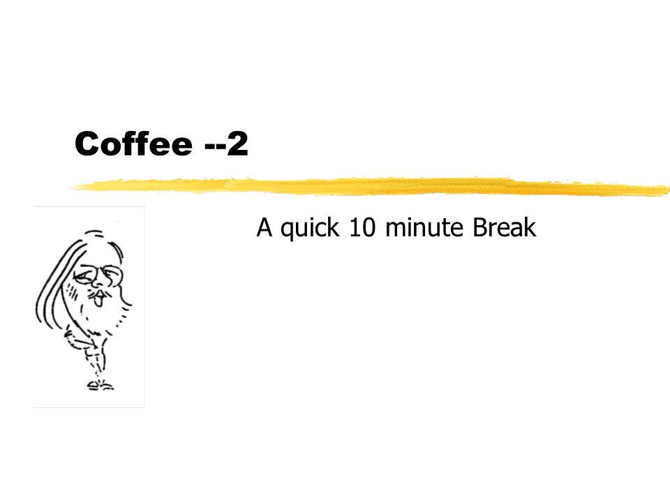 Coffee --2 A quick 10 minute Break