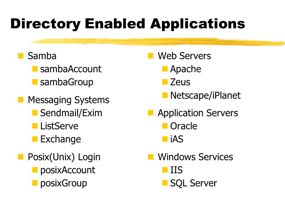 Directory Enabled Applications Samba sambaAccount sambaGroup Messaging Systems Sendmail/Exim ListServe Exchange Posix(Unix) Login posixAccount posixGr