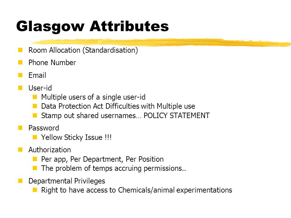 Glasgow Attributes Room Allocation (Standardisation) Phone Number Email User-id Multiple users of a single user-id Data Protection Act Difficulties wi