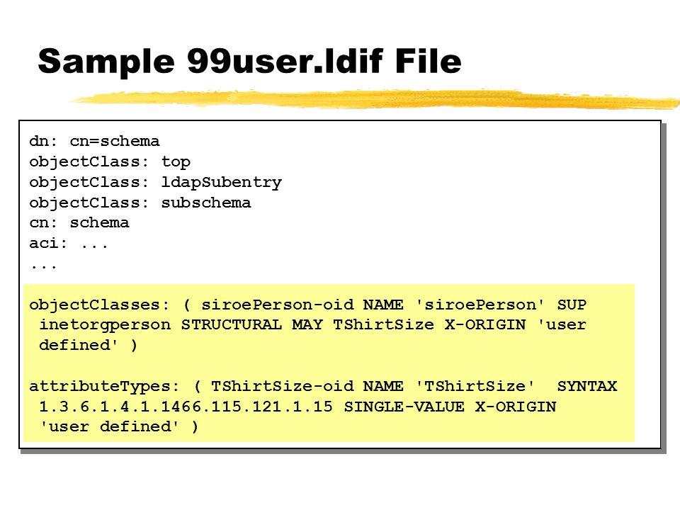 Sample 99user.ldif File dn: cn=schema objectClass: top objectClass: ldapSubentry objectClass: subschema cn: schema aci:...... objectClasses: ( siroePe