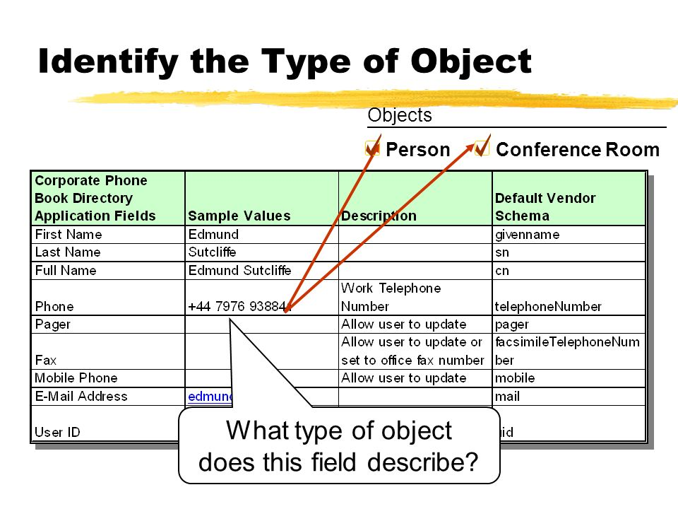 Identify the Type of Object What type of object does this field describe? Person Conference Room Objects