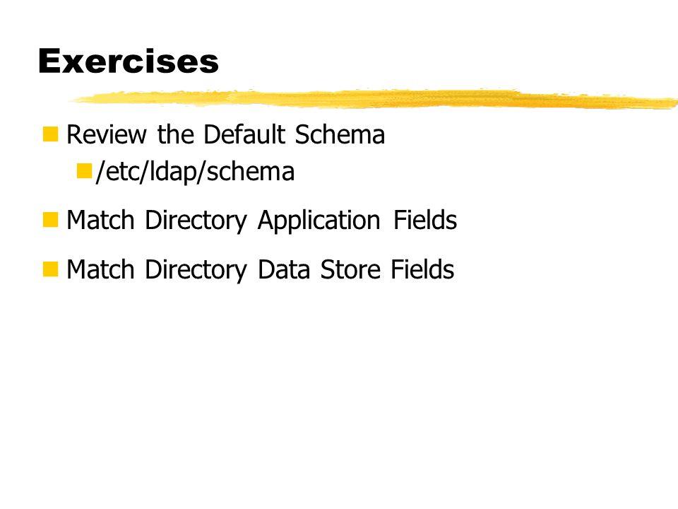 Exercises Review the Default Schema /etc/ldap/schema Match Directory Application Fields Match Directory Data Store Fields