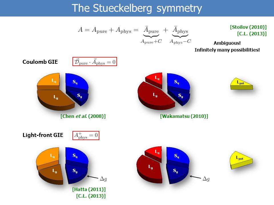[Wakamatsu (2010)][Chen et al. (2008)] The Stueckelberg symmetry Ambiguous.