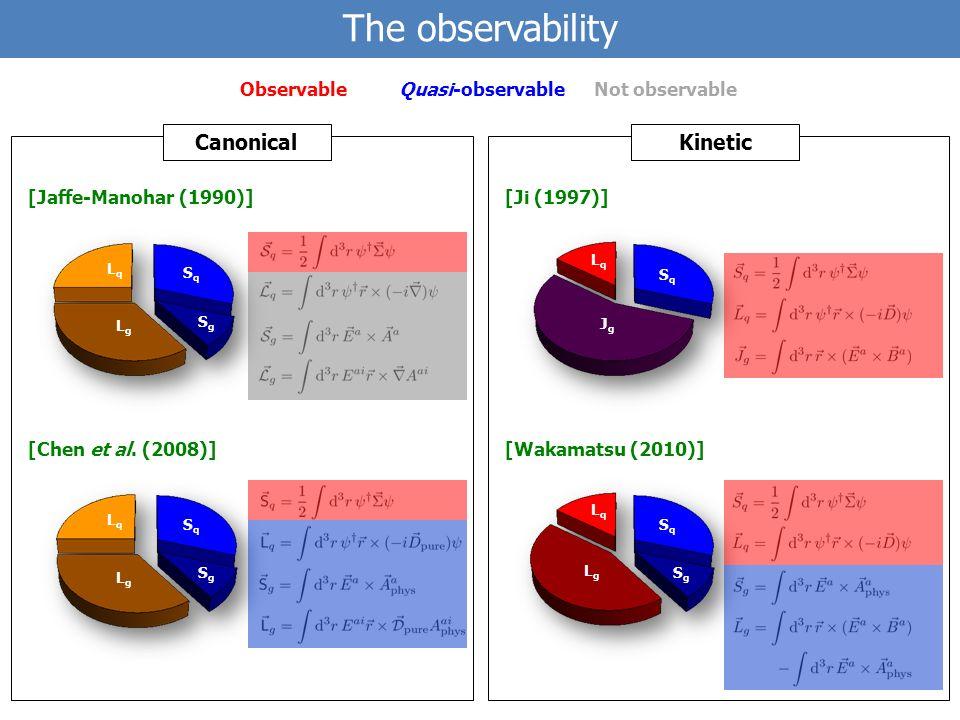 CanonicalKinetic The observability SqSq SgSg LgLg LqLq SqSq SgSg LgLg LqLq SqSq SgSg LgLg LqLq SqSq JgJg LqLq Not observableObservableQuasi-observable [Wakamatsu (2010)] [Ji (1997)] [Jaffe-Manohar (1990)] [Chen et al.