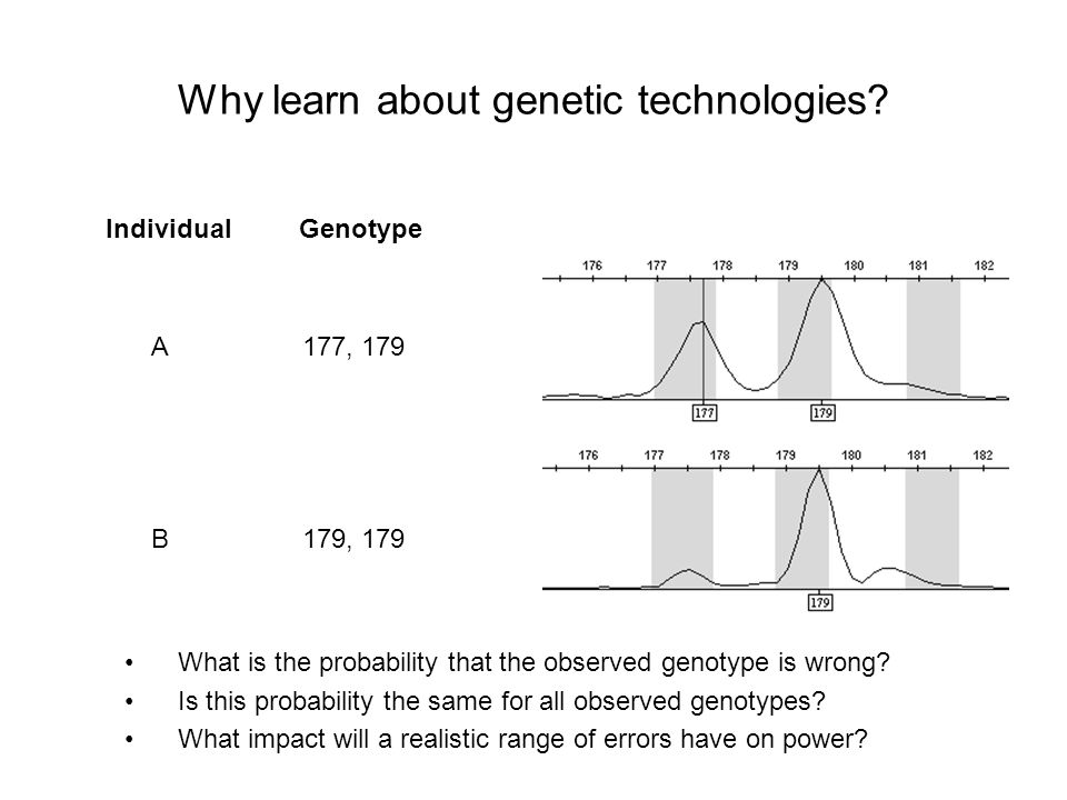 Why learn about genetic technologies? A B Genotype 177, 179 179, 179 Individual What is the probability that the observed genotype is wrong? Is this p