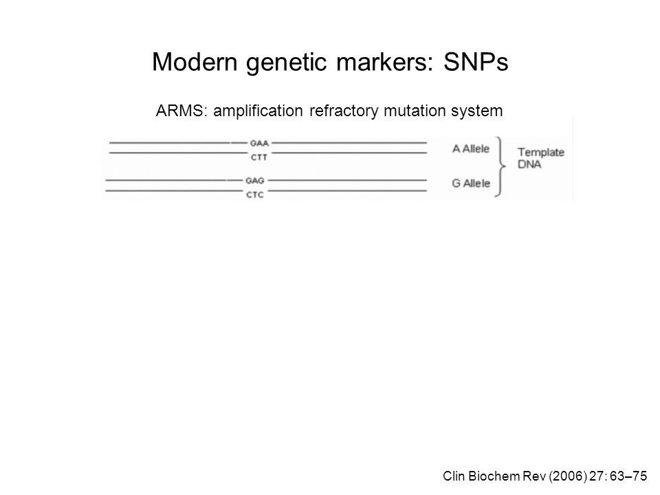 Modern genetic markers: SNPs ARMS: amplification refractory mutation system Clin Biochem Rev (2006) 27: 63–75