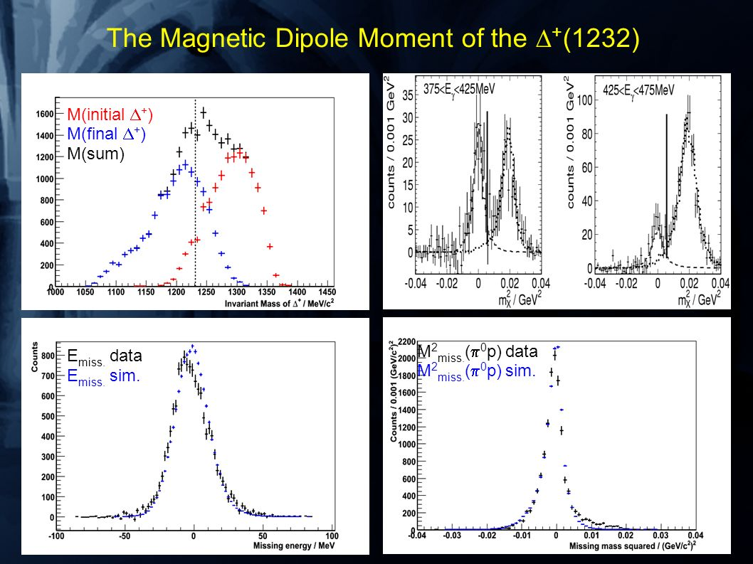 The Magnetic Dipole Moment of the + (1232) M(initial + ) M(final + ) M(sum) E miss. data E miss. sim. M 2 miss. ( 0 p) data M 2 miss. ( 0 p) sim.
