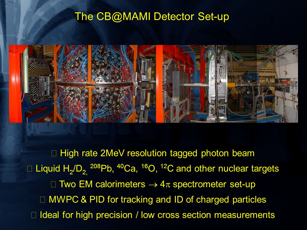 The CB@MAMI Detector Set-up High rate 2MeV resolution tagged photon beam Liquid H 2 /D 2, 208 Pb, 40 Ca, 16 O, 12 C and other nuclear targets Two EM c