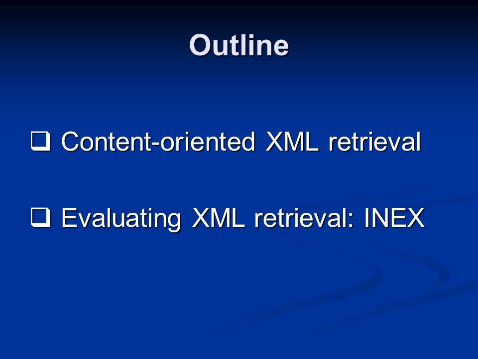 Outline Content-oriented XML retrieval Content-oriented XML retrieval Evaluating XML retrieval: INEX Evaluating XML retrieval: INEX