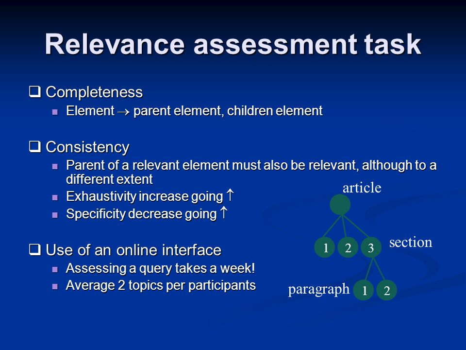 Relevance assessment task Completeness Completeness Element parent element, children element Element parent element, children element Consistency Cons