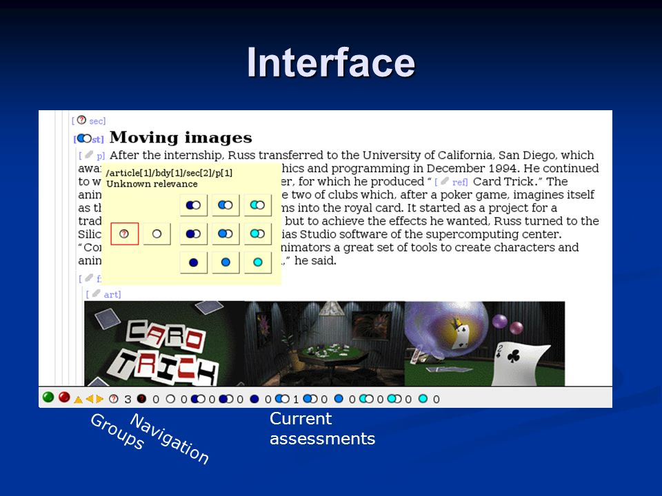 Interface Current assessments Navigation Groups