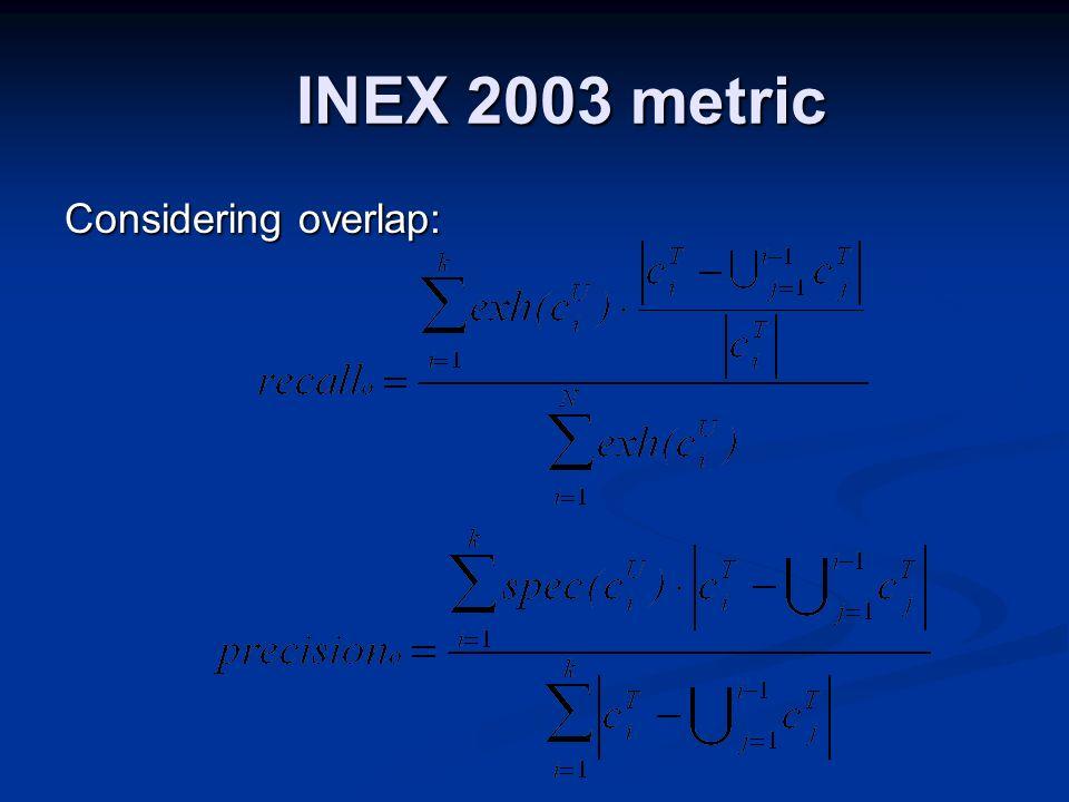 INEX 2003 metric Considering overlap: