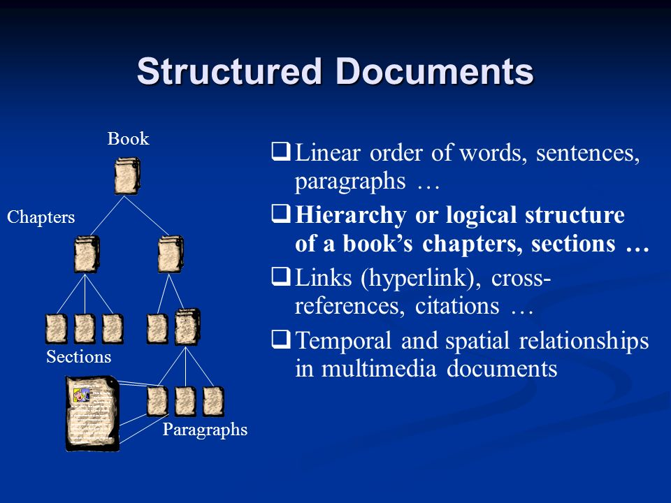 Structured Documents Linear order of words, sentences, paragraphs … Hierarchy or logical structure of a books chapters, sections … Links (hyperlink),