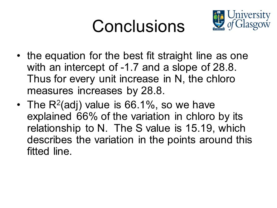 Conclusions the equation for the best fit straight line as one with an intercept of -1.7 and a slope of 28.8. Thus for every unit increase in N, the c