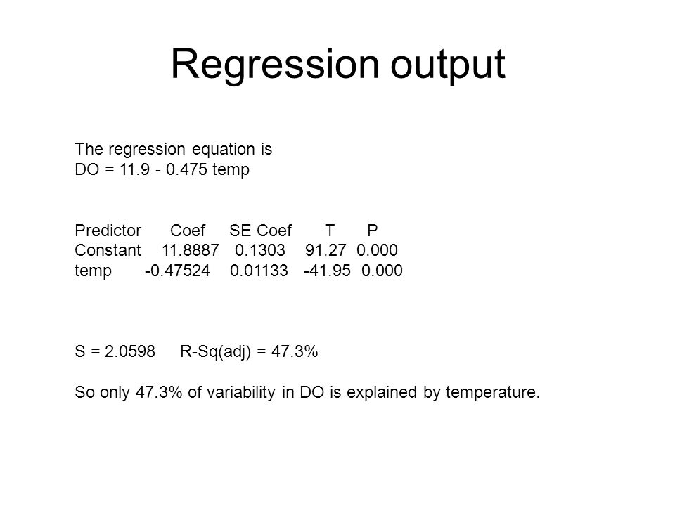 Regression output The regression equation is DO = temp Predictor Coef SE Coef T P Constant temp S = R-Sq(adj) = 47.3% So only 47.3% of variability in DO is explained by temperature.