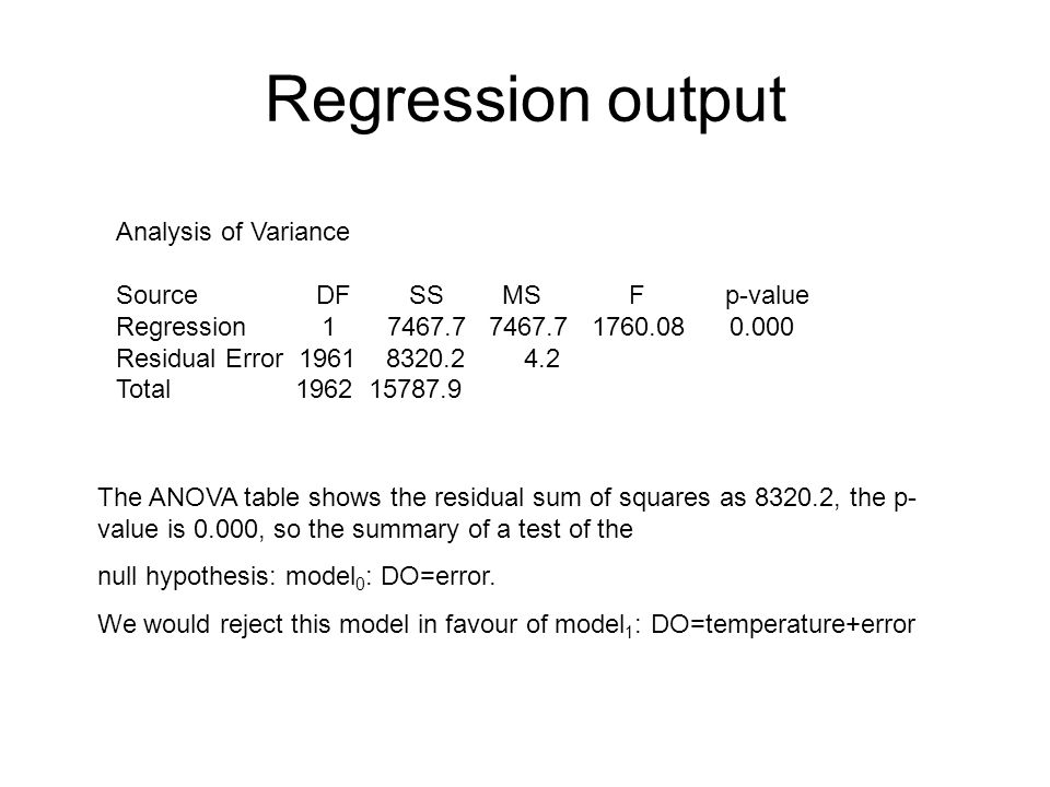Regression output Analysis of Variance Source DF SS MS F p-value Regression Residual Error Total The ANOVA table shows the residual sum of squares as , the p- value is 0.000, so the summary of a test of the null hypothesis: model 0 : DO=error.
