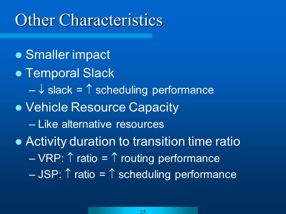 25 Other Characteristics Smaller impact Temporal Slack – slack = scheduling performance Vehicle Resource Capacity –Like alternative resources Activity duration to transition time ratio –VRP: ratio = routing performance –JSP: ratio = scheduling performance