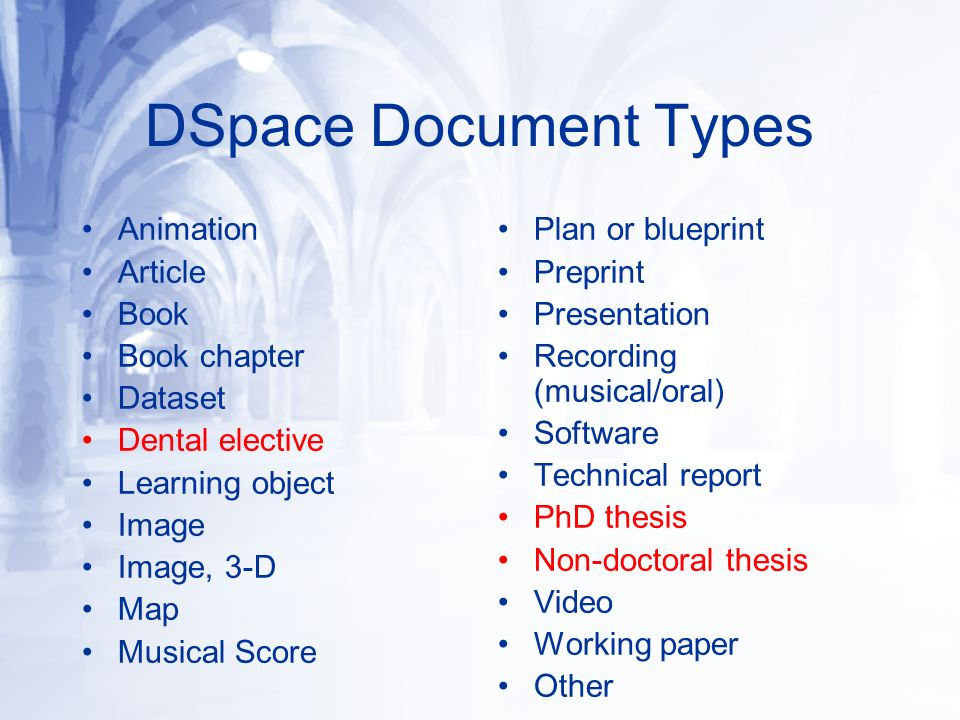 DSpace Document Types Animation Article Book Book chapter Dataset Dental elective Learning object Image Image, 3-D Map Musical Score Plan or blueprint