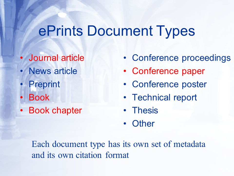 ePrints Document Types Journal article News article Preprint Book Book chapter Conference proceedings Conference paper Conference poster Technical report Thesis Other Each document type has its own set of metadata and its own citation format