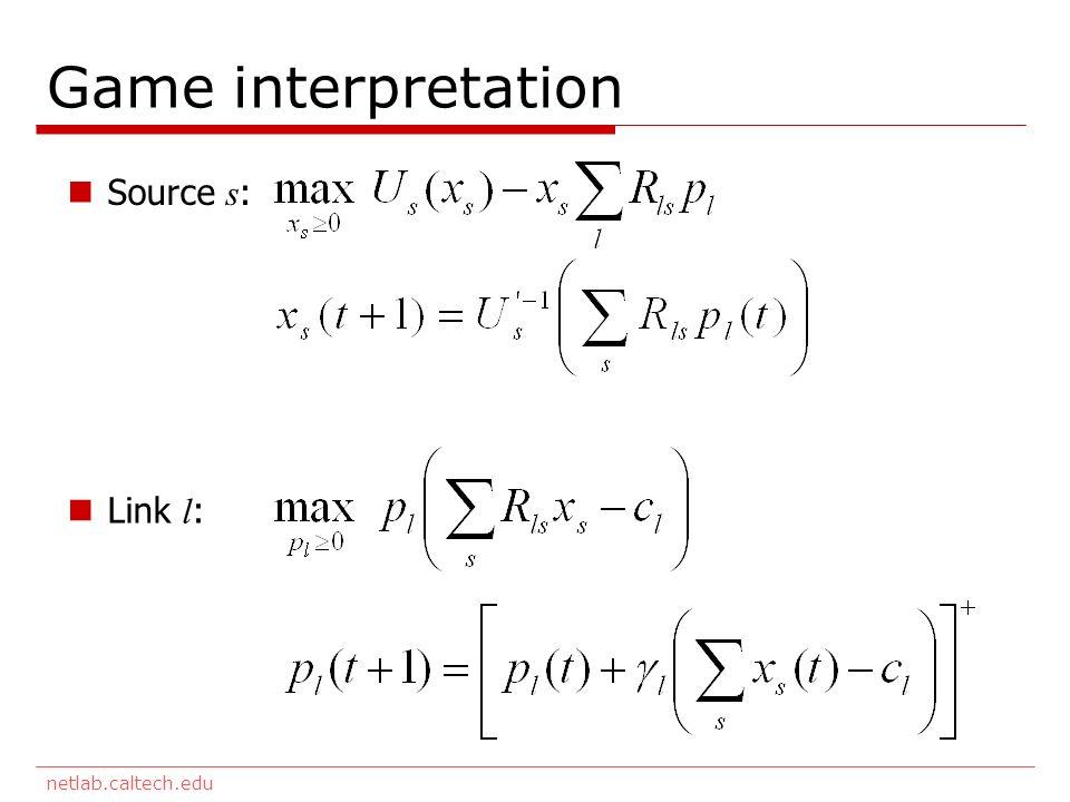 netlab.caltech.edu Game interpretation Source s : Link l :