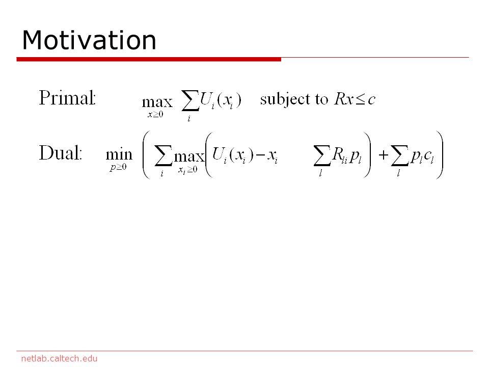 netlab.caltech.edu Motivation