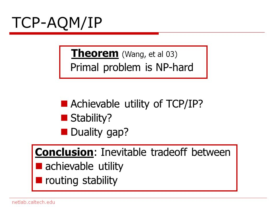 netlab.caltech.edu TCP-AQM/IP Theorem (Wang, et al 03) Primal problem is NP-hard Achievable utility of TCP/IP? Stability? Duality gap? Conclusion: Ine