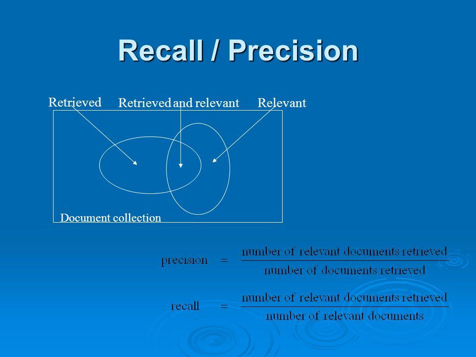 Recall / Precision Document collection Retrieved Relevant Retrieved and relevant