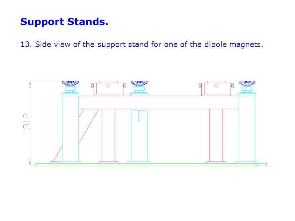 Support Stands. 13. Side view of the support stand for one of the dipole magnets.