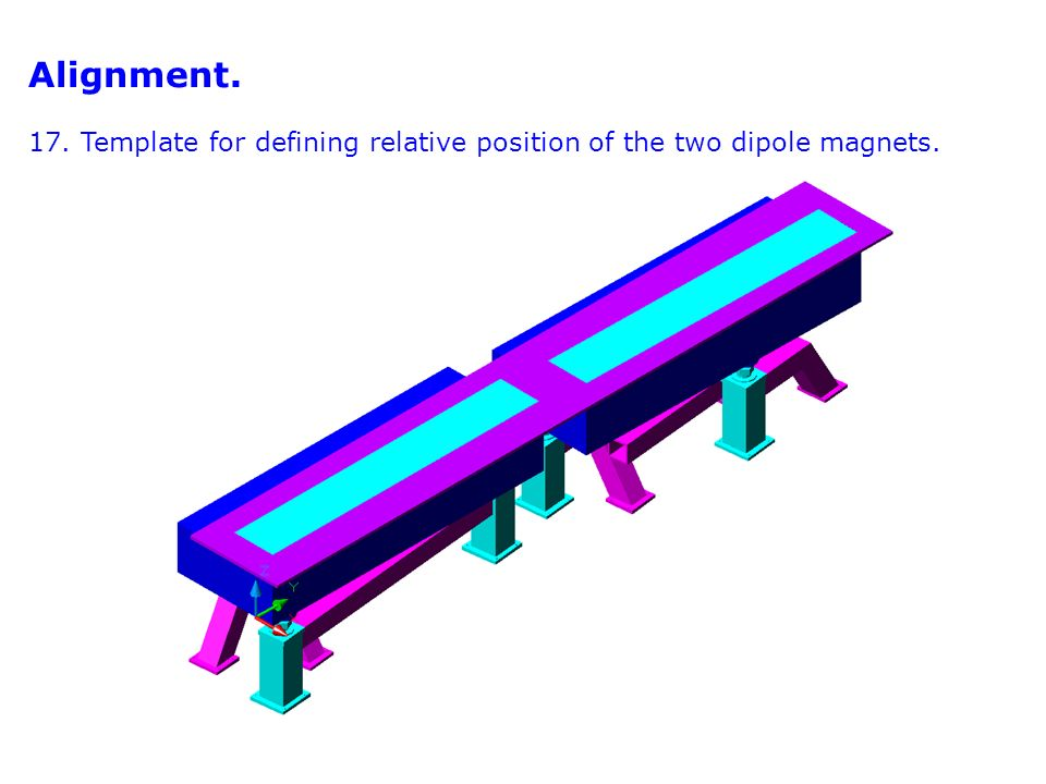 Alignment. 17. Template for defining relative position of the two dipole magnets.