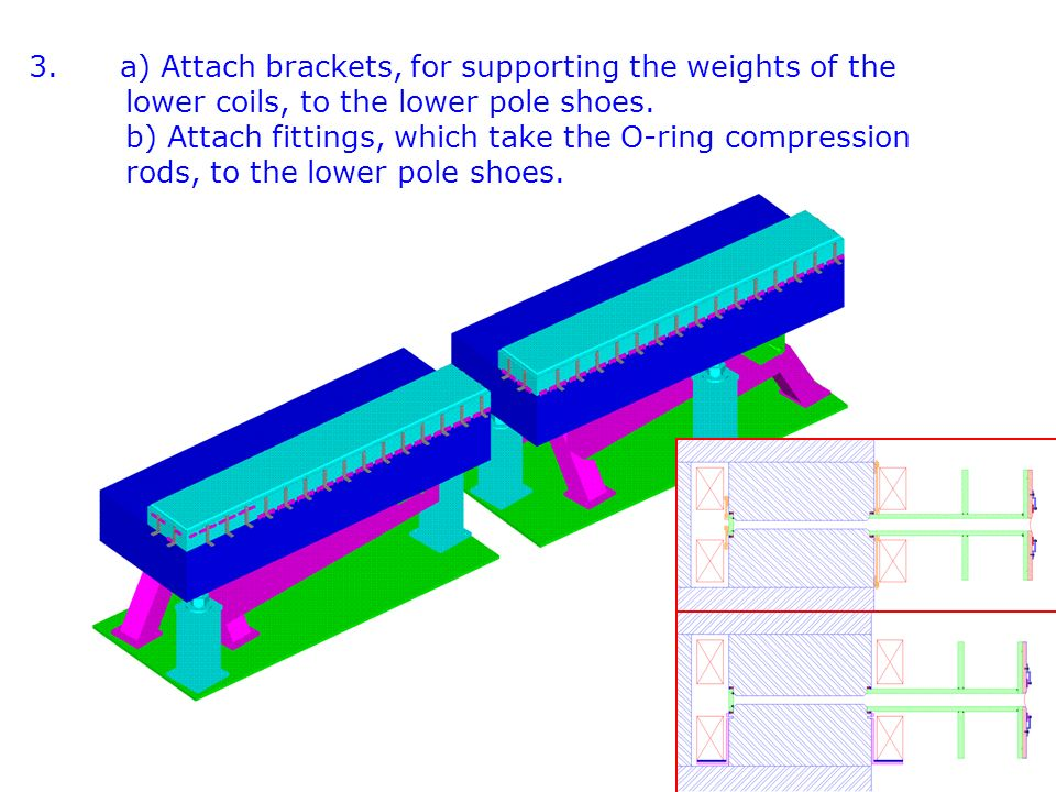 3. a) Attach brackets, for supporting the weights of the lower coils, to the lower pole shoes. b) Attach fittings, which take the O-ring compression r