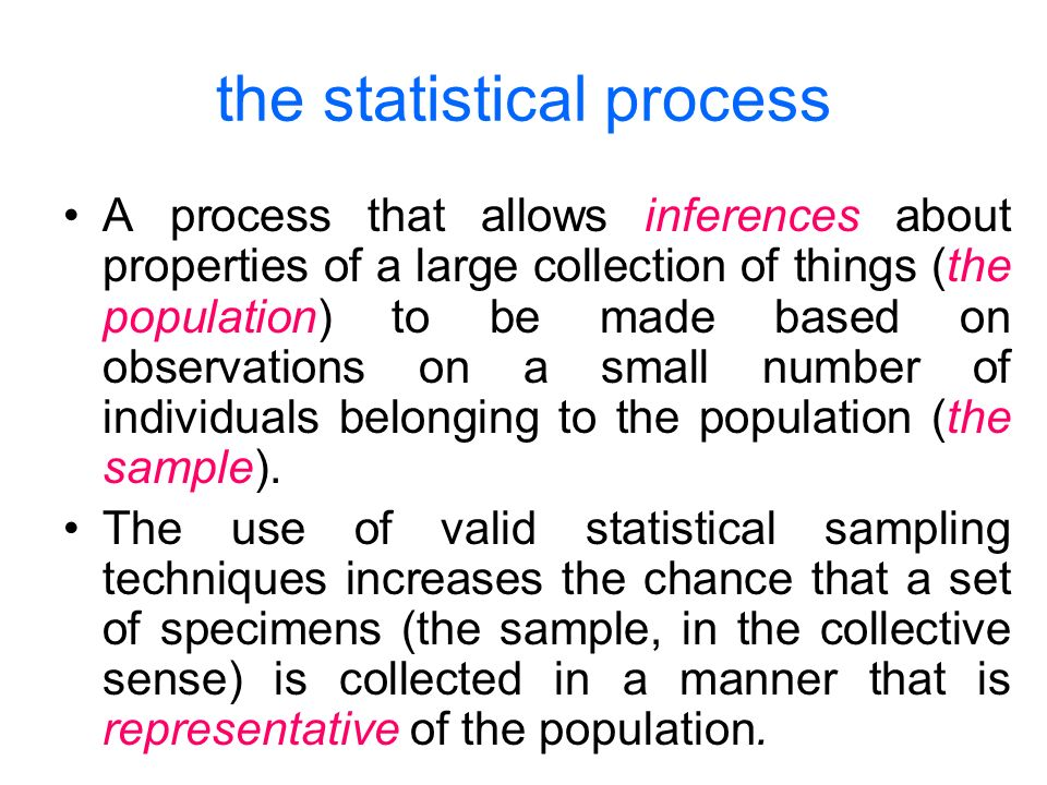 the statistical process A process that allows inferences about properties of a large collection of things (the population) to be made based on observations on a small number of individuals belonging to the population (the sample).