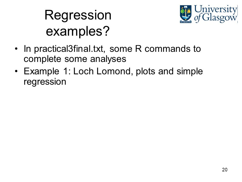 20 Regression examples.