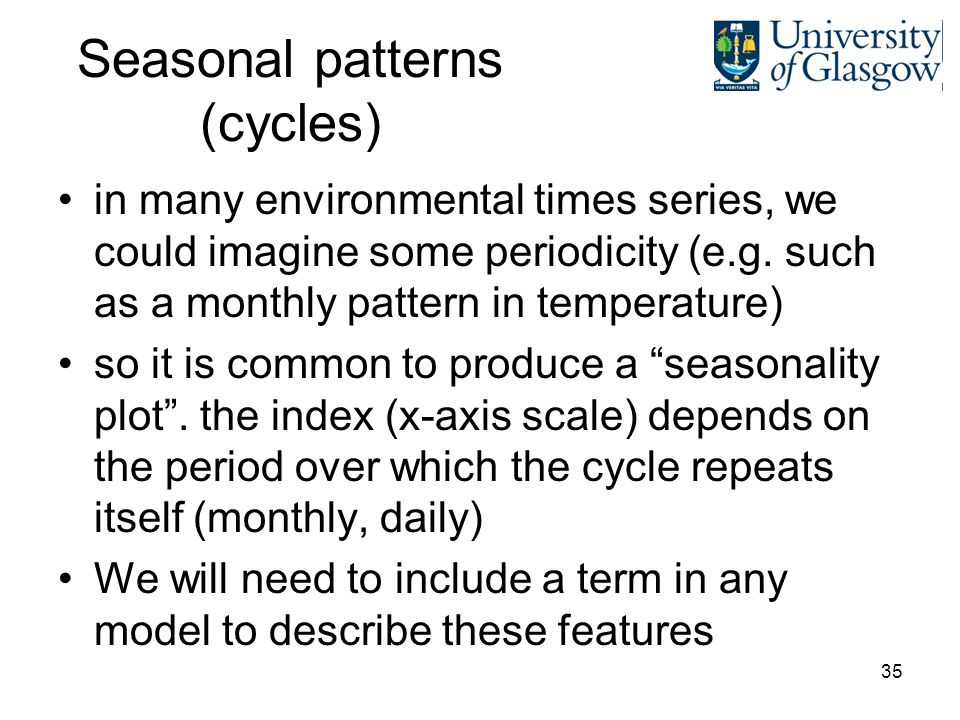 35 Seasonal patterns (cycles) in many environmental times series, we could imagine some periodicity (e.g.