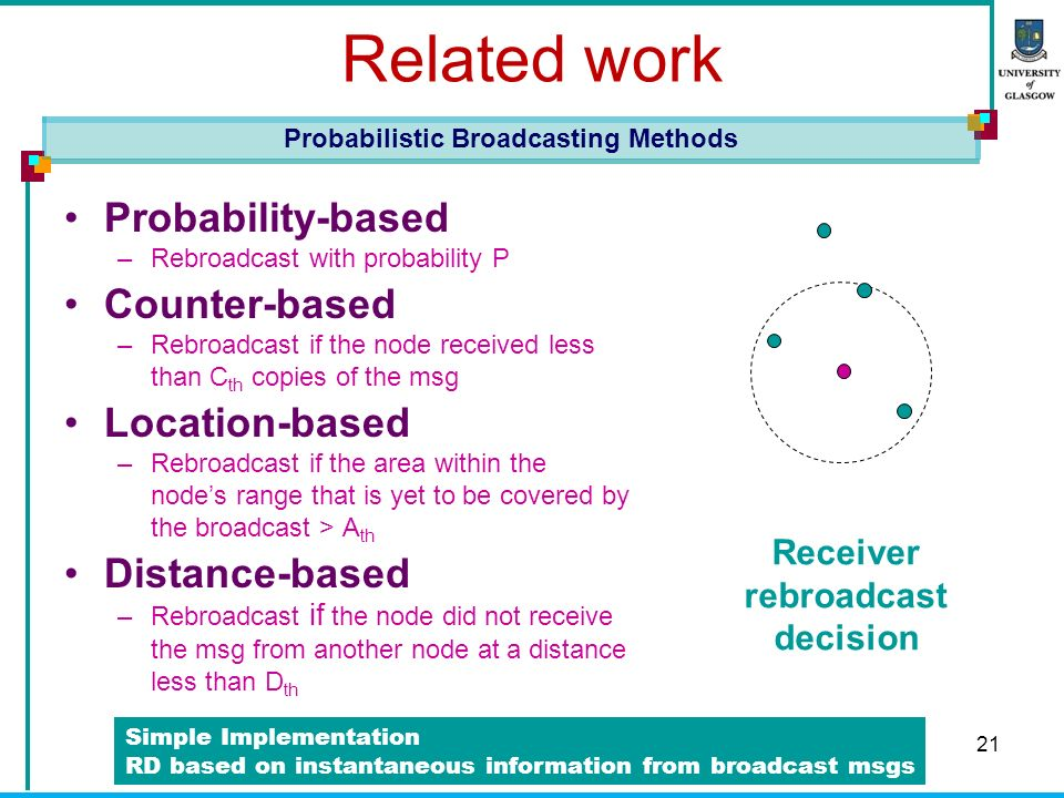 21 Related work Probability-based –R–Rebroadcast with probability P Counter-based –R–Rebroadcast if the node received less than C th copies of the msg Location-based –R–Rebroadcast if the area within the nodes range that is yet to be covered by the broadcast > A th Distance-based –R–Rebroadcast if the node did not receive the msg from another node at a distance less than D th Probabilistic Broadcasting Methods Receiver rebroadcast decision Simple Implementation RD based on instantaneous information from broadcast msgs