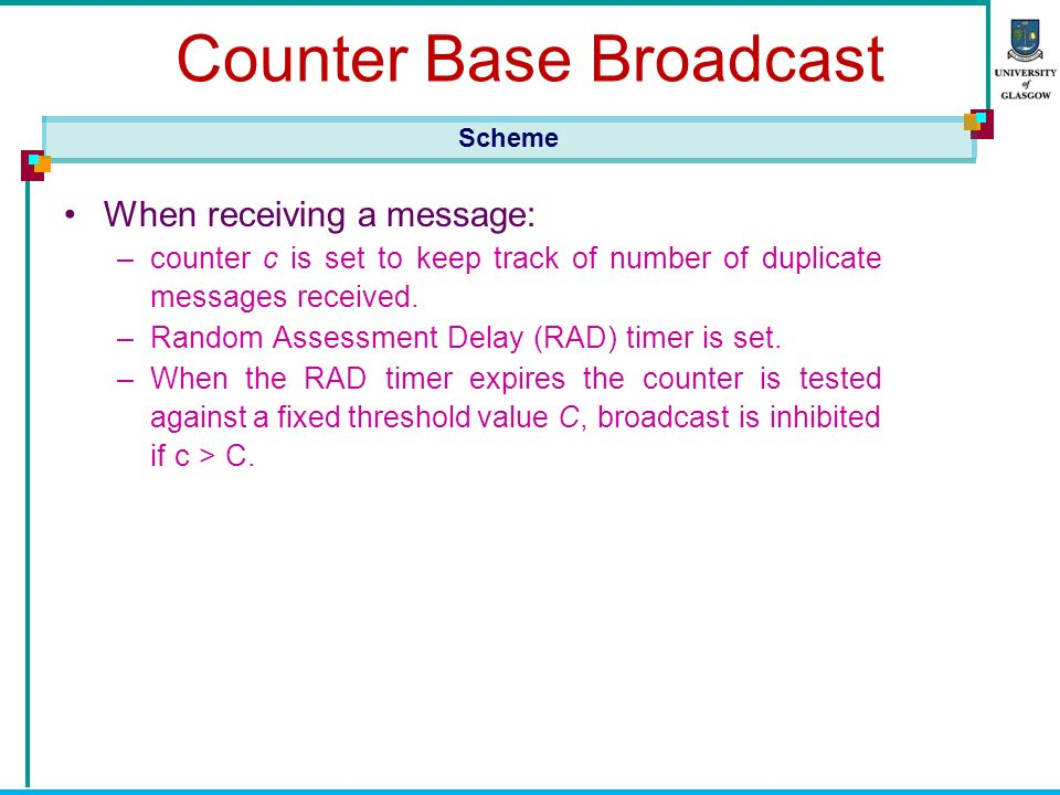 Counter Base Broadcast When receiving a message: –counter c is set to keep track of number of duplicate messages received.