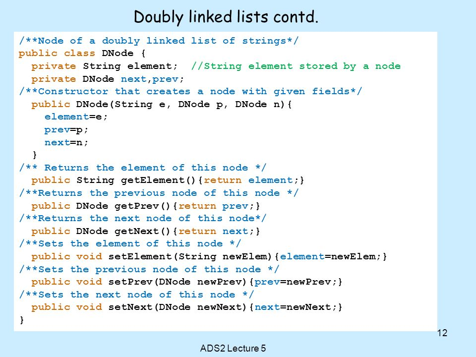 Doubly linked lists contd.