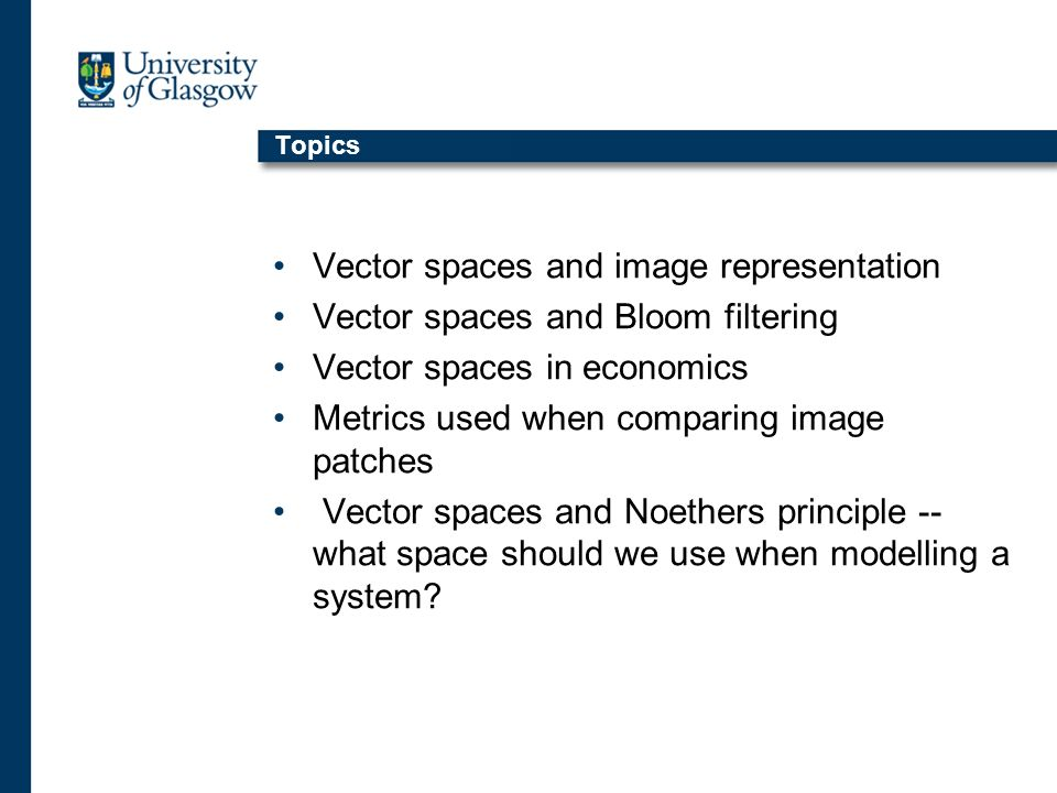 Topics Vector spaces and image representation Vector spaces and Bloom filtering Vector spaces in economics Metrics used when comparing image patches Vector spaces and Noethers principle -- what space should we use when modelling a system