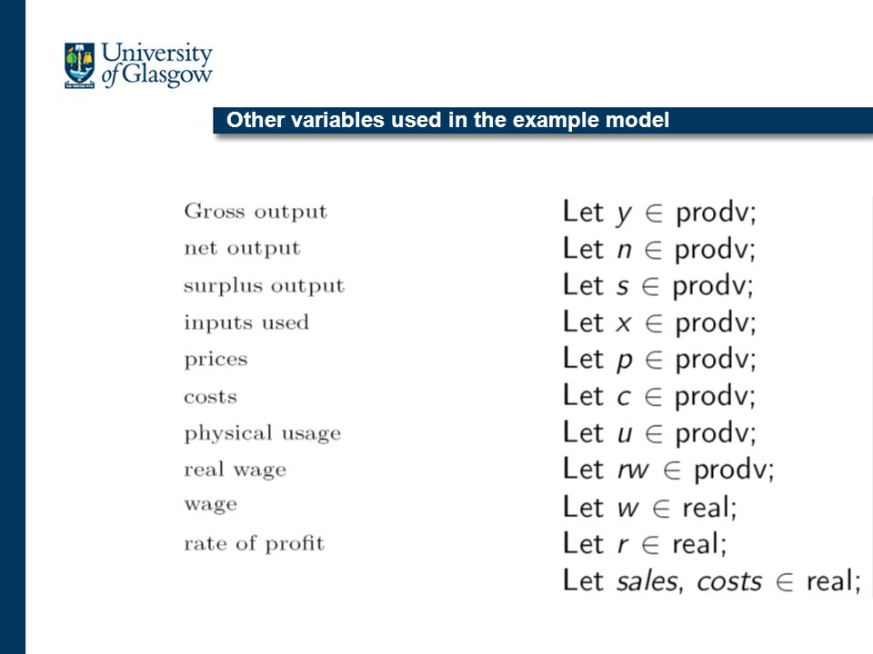 Other variables used in the example model