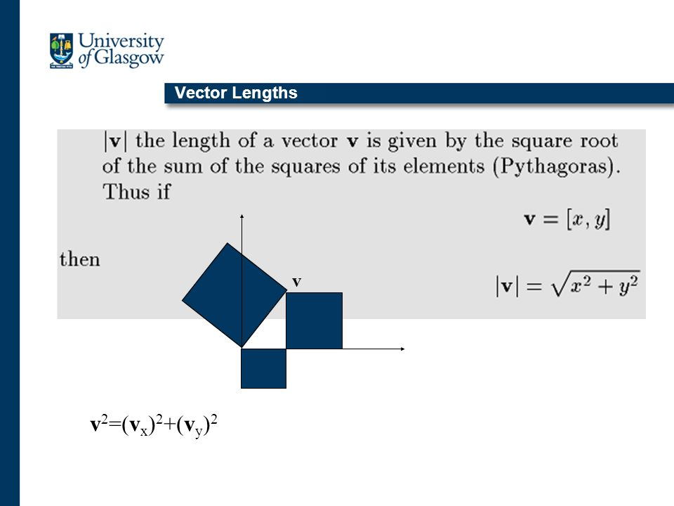 Vector Lengths v v 2 =(v x ) 2 +(v y ) 2