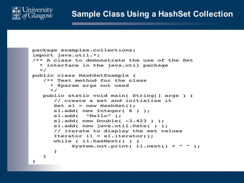 Sample Class Using a HashSet Collection