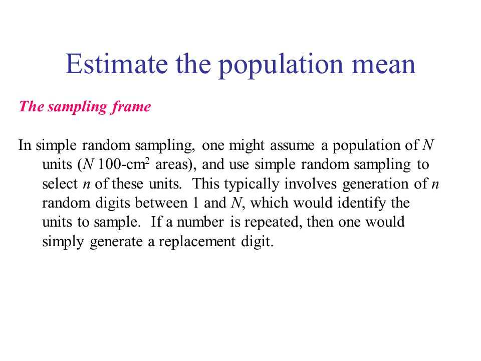 Estimate the population mean The sampling frame In simple random sampling, one might assume a population of N units (N 100-cm 2 areas), and use simple