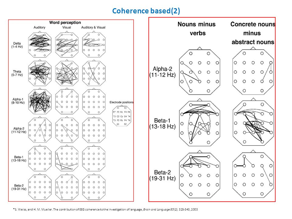 Coherence based(2) *S. Weiss, and H. M. Mueller. The contribution of EEG coherence to the investigation of language, Brain and Language 85(2), 325-343