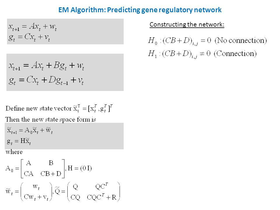 EM Algorithm: Predicting gene regulatory network Constructing the network: