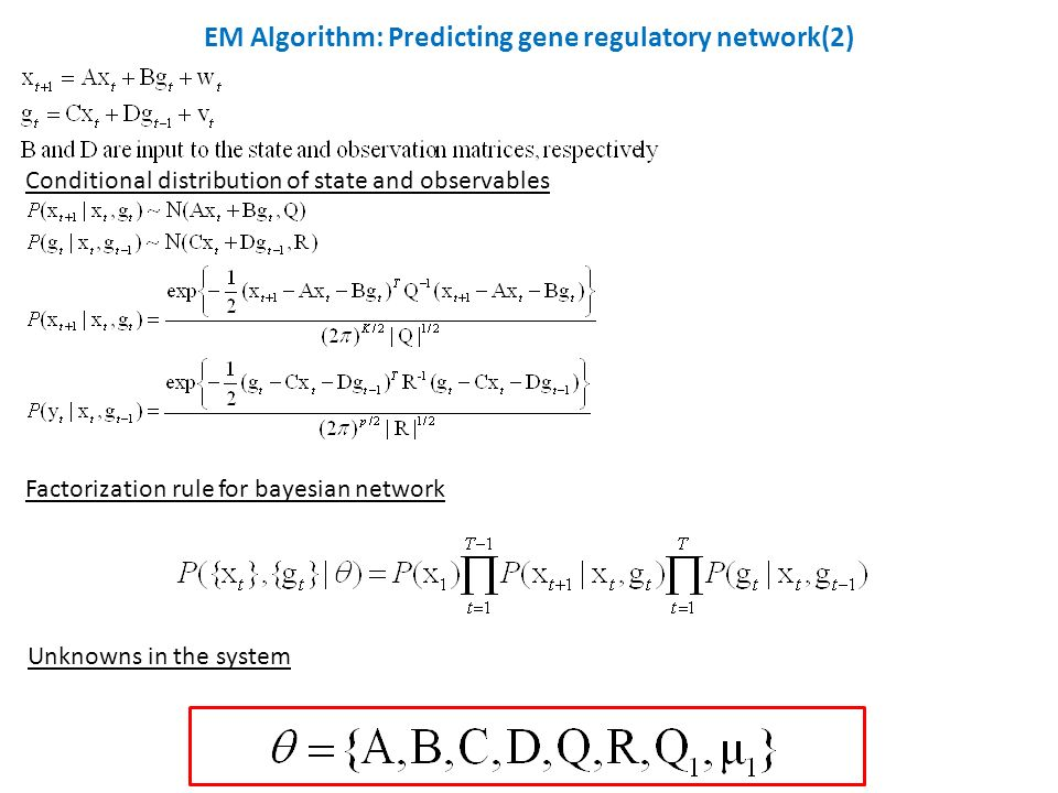 Conditional distribution of state and observables Factorization rule for bayesian network Unknowns in the system EM Algorithm: Predicting gene regulatory network(2)