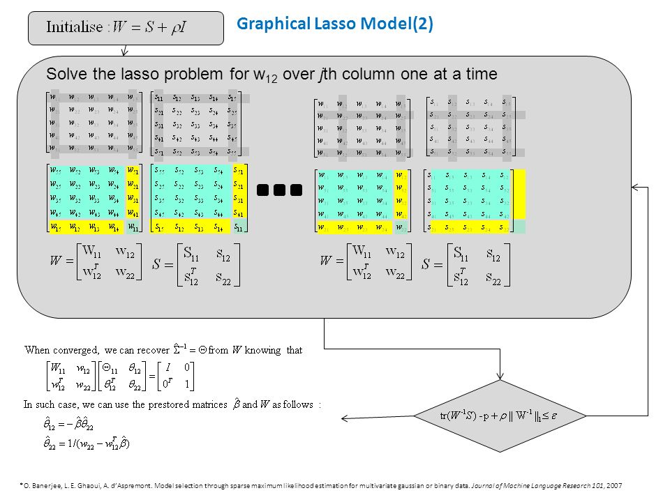 Solve the lasso problem for w 12 over jth column one at a time Graphical Lasso Model(2) *O.