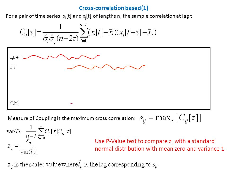 For a pair of time series x i [t] and x j [t] of lengths n, the sample correlation at lag τ Cross-correlation based(1) Measure of Coupling is the maximum cross correlation: Use P-Value test to compare z ij with a standard normal distribution with mean zero and variance 1