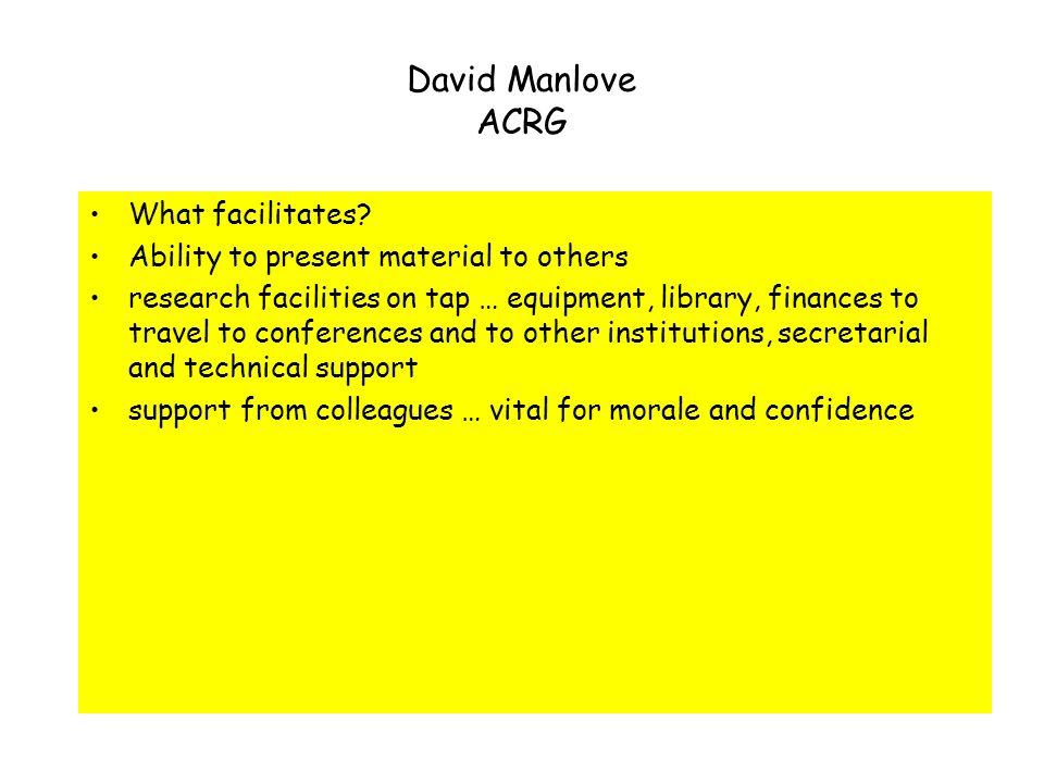 David Manlove ACRG Glasgow & Oxford What is vibrant research … benefit the community … driven by a real-world application … help us to gain a better understanding of some other problem … … because we find it interesting … The knowledge we have gained is an investment … What facilitates .