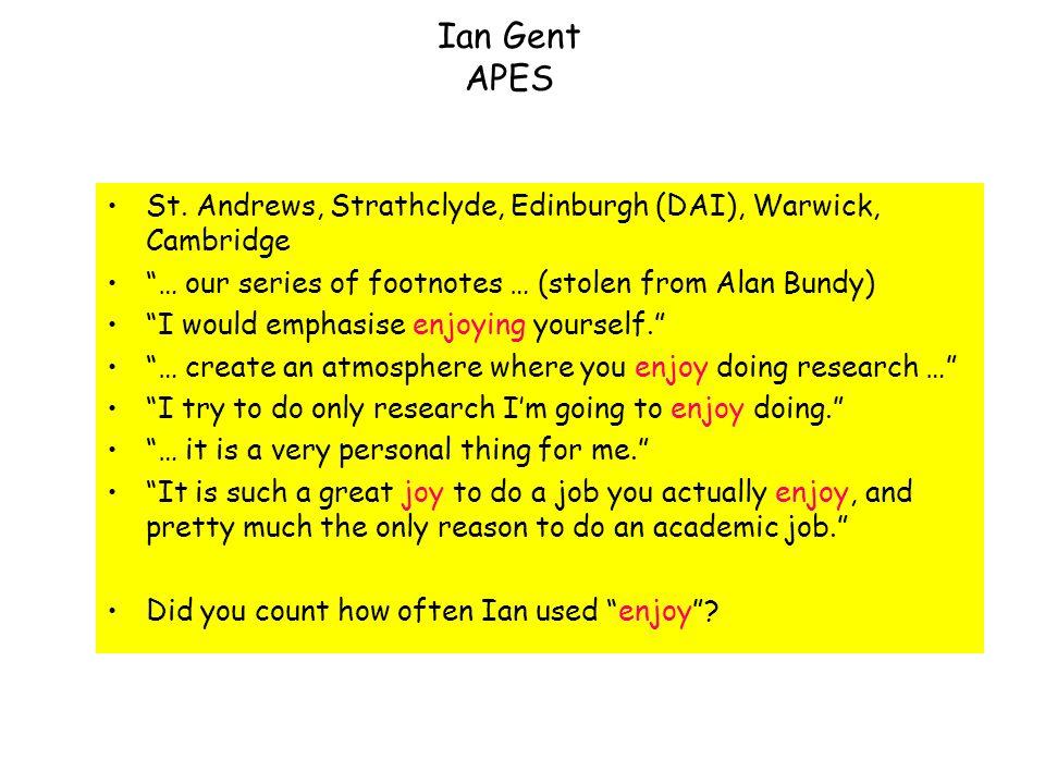 Ian Gent APES St.